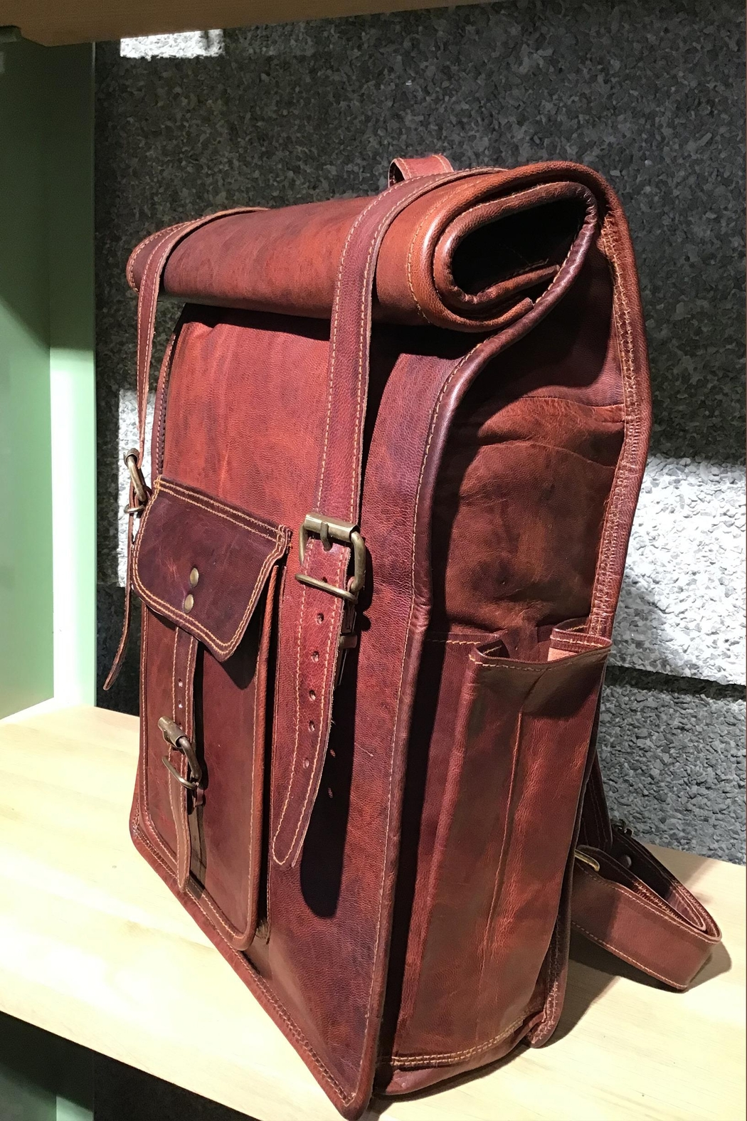 Rust Sydney  Goat Genuine Leather Rolled Top Backpack - Front Full Image