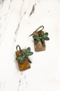 Shoptiques Product: Rustic Creek Dragonfly Earrings