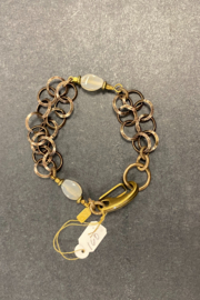 debe dohrer design Rutilated quartz on brass circles - Front full body