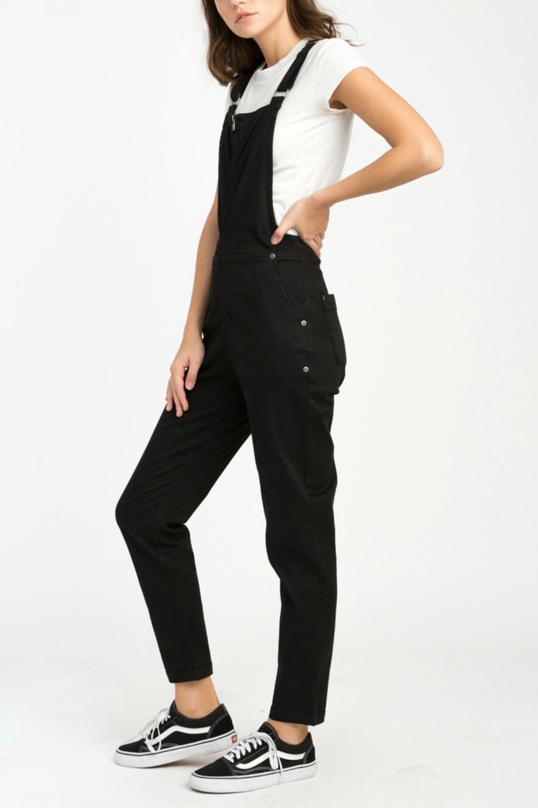RVCA Black Walkaway Overalls - Side Cropped Image