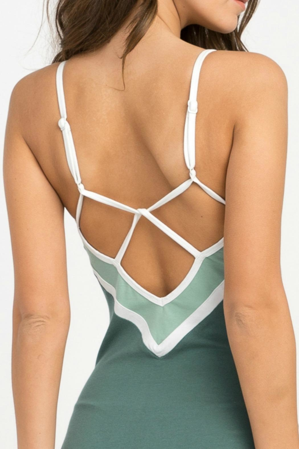 RVCA Green Repeat Bodysuit - Back Cropped Image