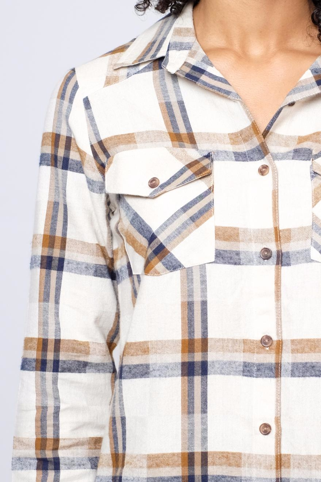 RVCA Jig Flannel Blouse - Back Cropped Image