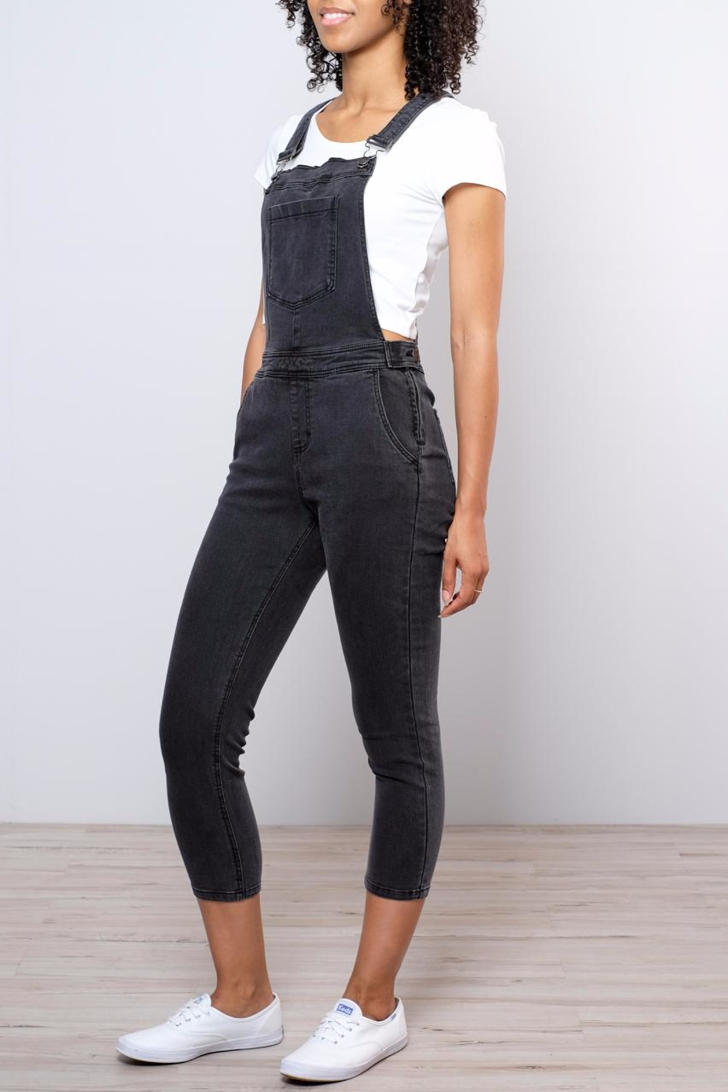 RVCA Sweetness Cropped Overalls - Front Full Image
