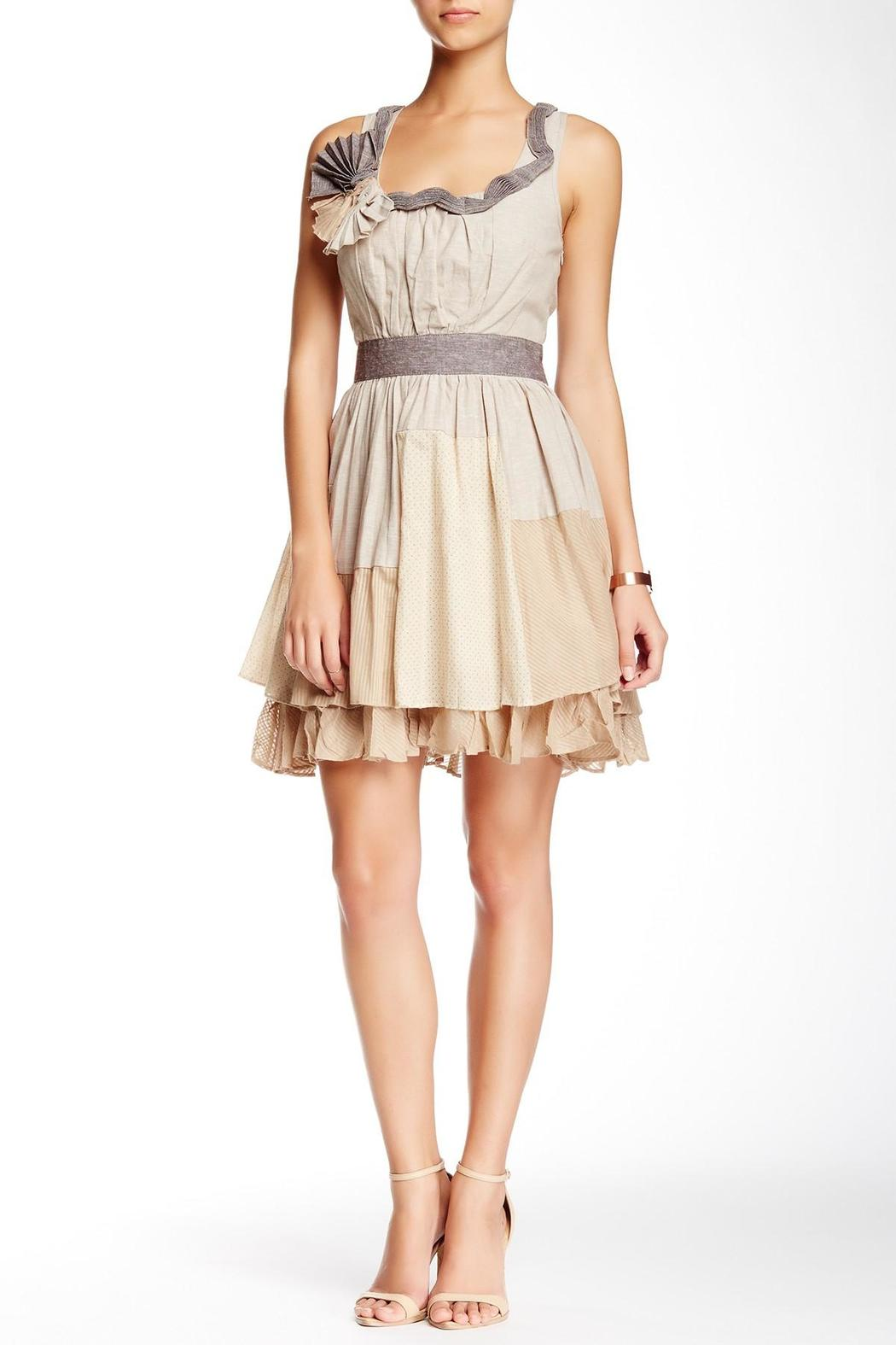 Ryu Beige Patched Dress - Main Image