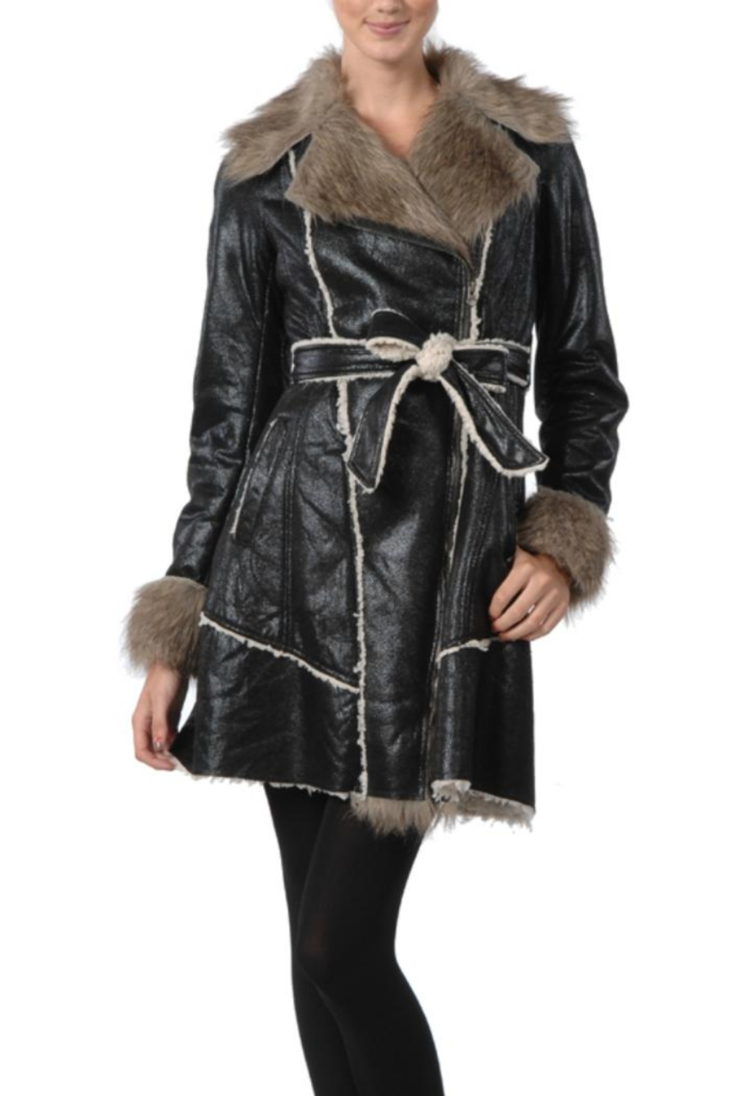 Ryu Black Shearling Coat - Front Cropped Image