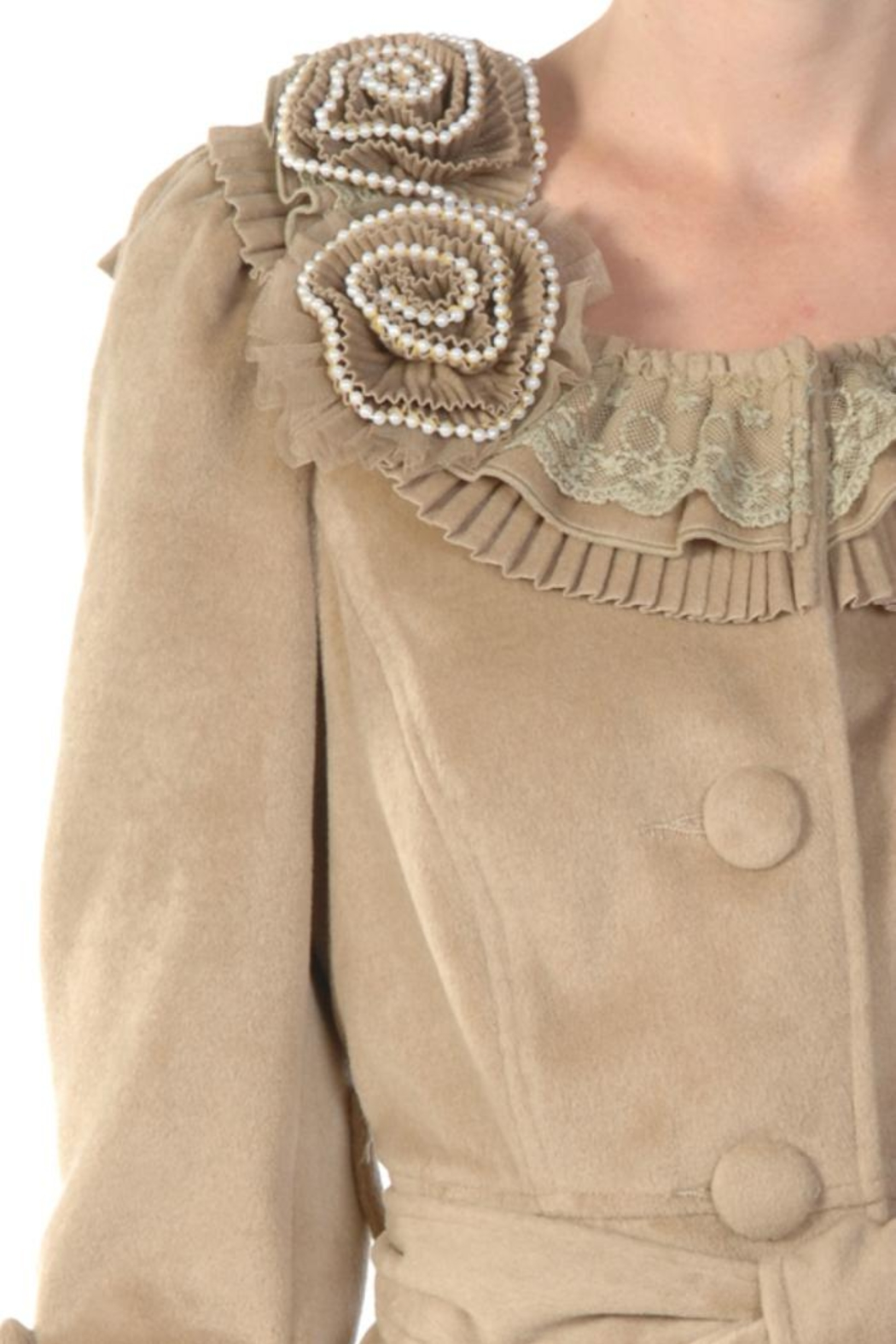 Ryu Camel Tie Coat - Side Cropped Image