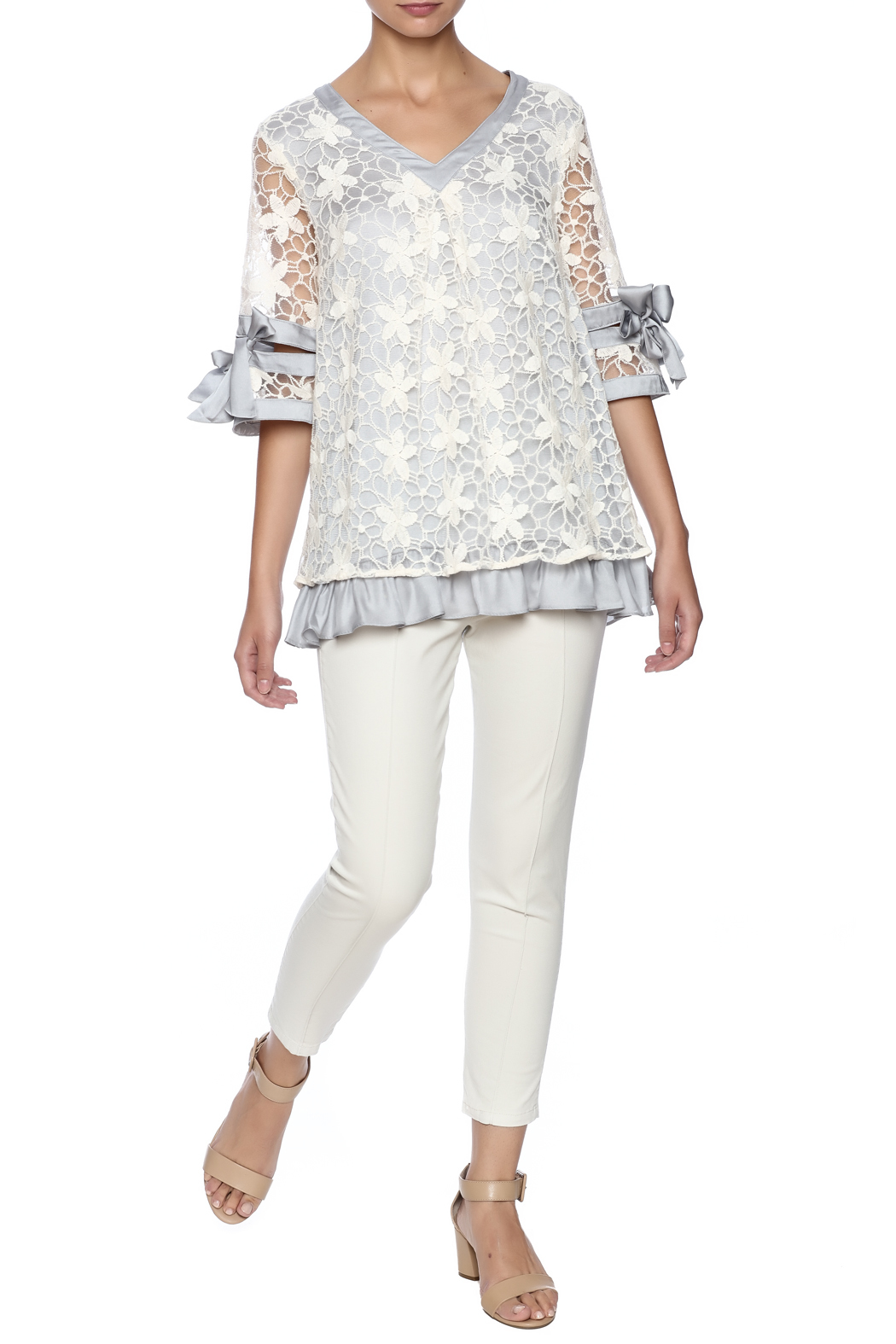 Ryu Dreamy Lace Overlay Top - Front Full Image