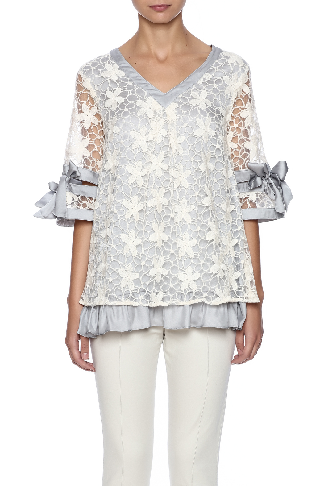 Ryu Dreamy Lace Overlay Top - Side Cropped Image