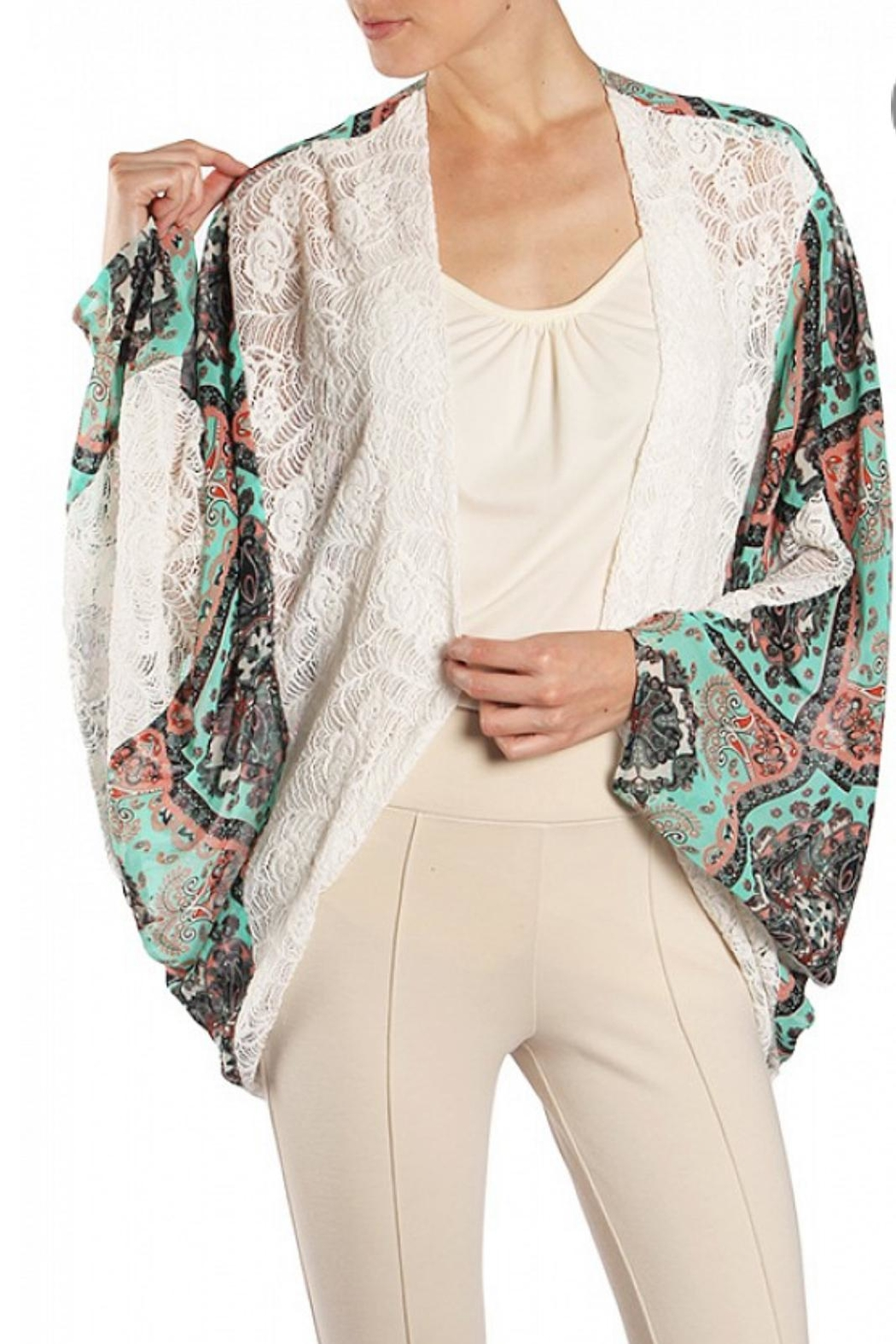 Ryu Lace Trimmed Print Kimono - Front Cropped Image
