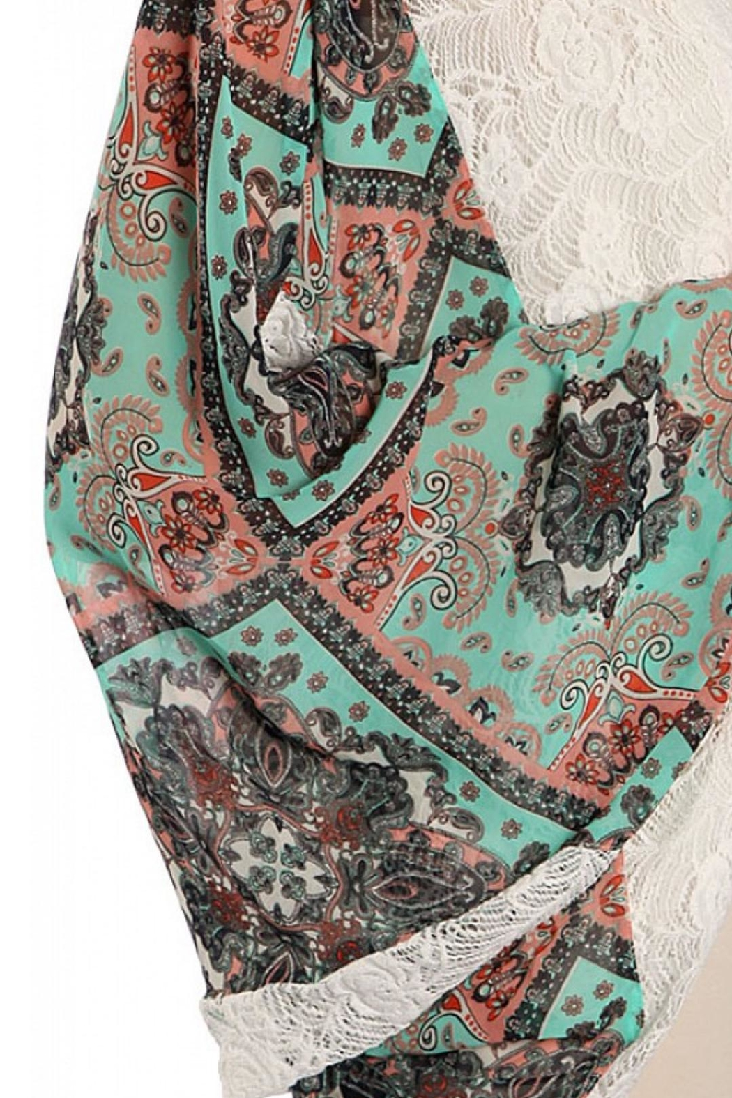 Ryu Lace Trimmed Print Kimono - Side Cropped Image