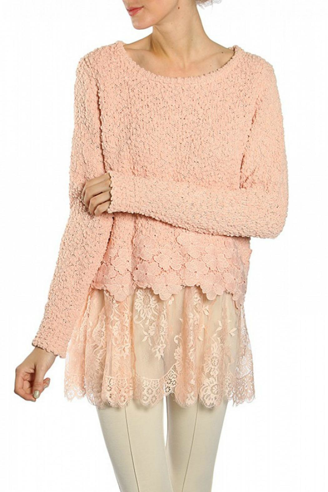 Ryu Peach Lace Sweater - Main Image