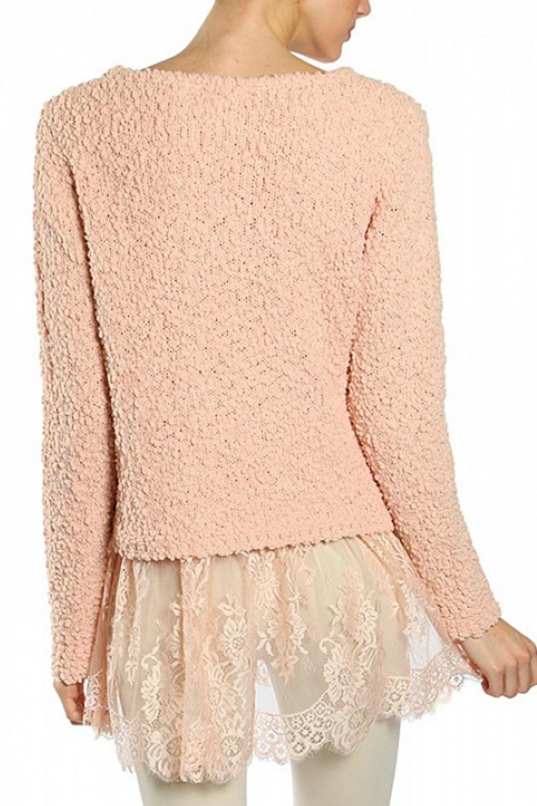 Ryu Peach Lace Sweater - Front Full Image