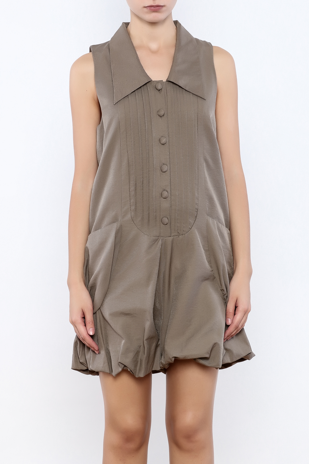 Ryu Taupe Romper - Side Cropped Image