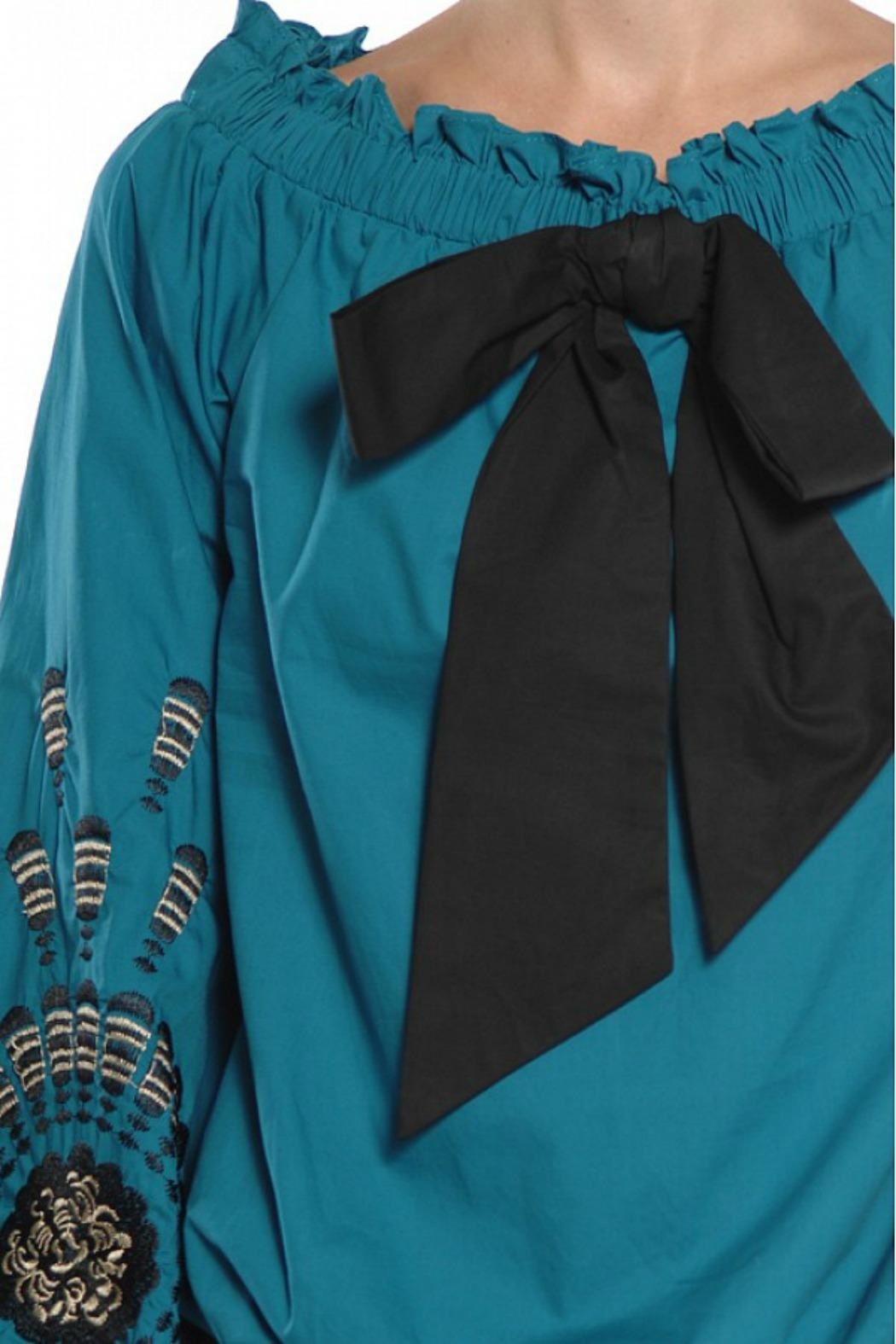 Ryu Teal Peasant Blouse - Side Cropped Image