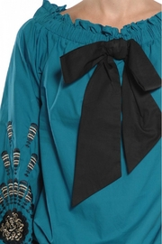 Ryu Teal Peasant Blouse - Side cropped