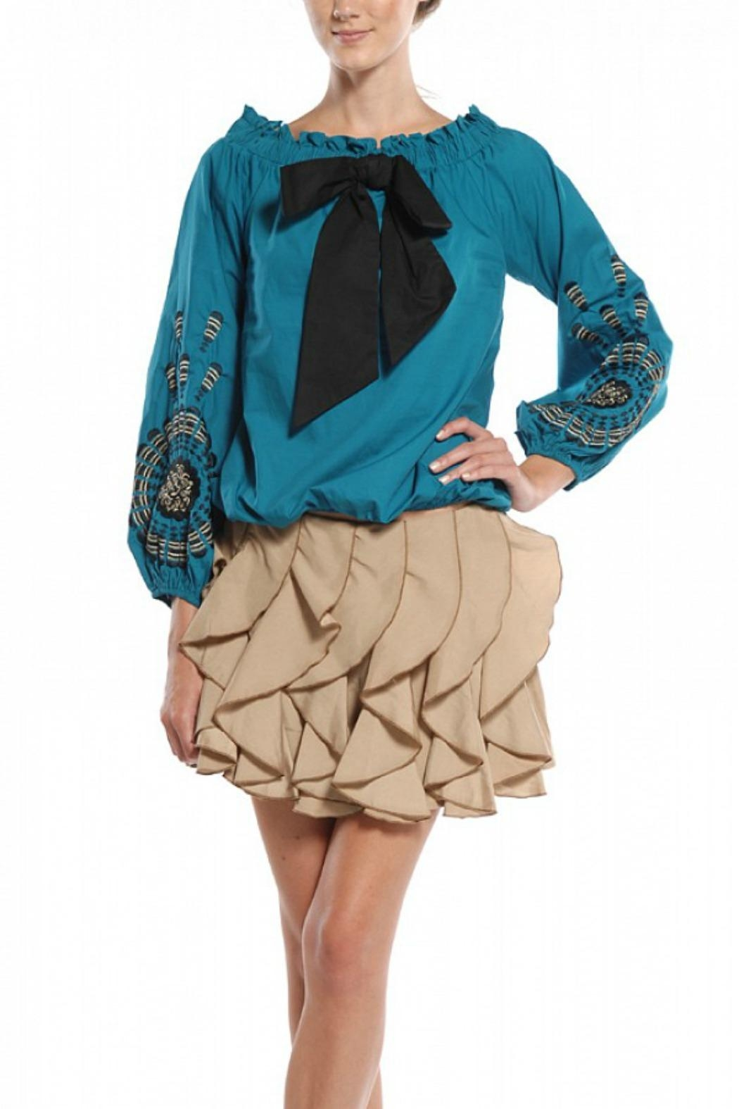 Ryu Teal Peasant Blouse - Front Cropped Image