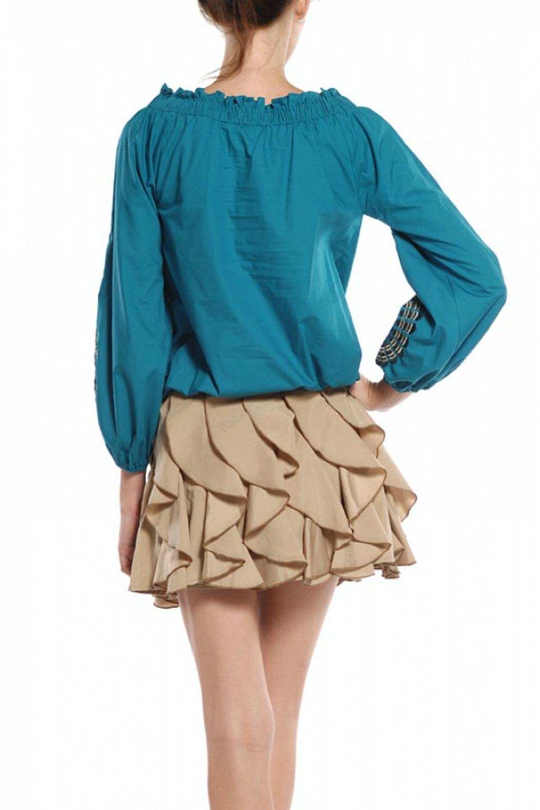Ryu Teal Peasant Blouse - Front Full Image