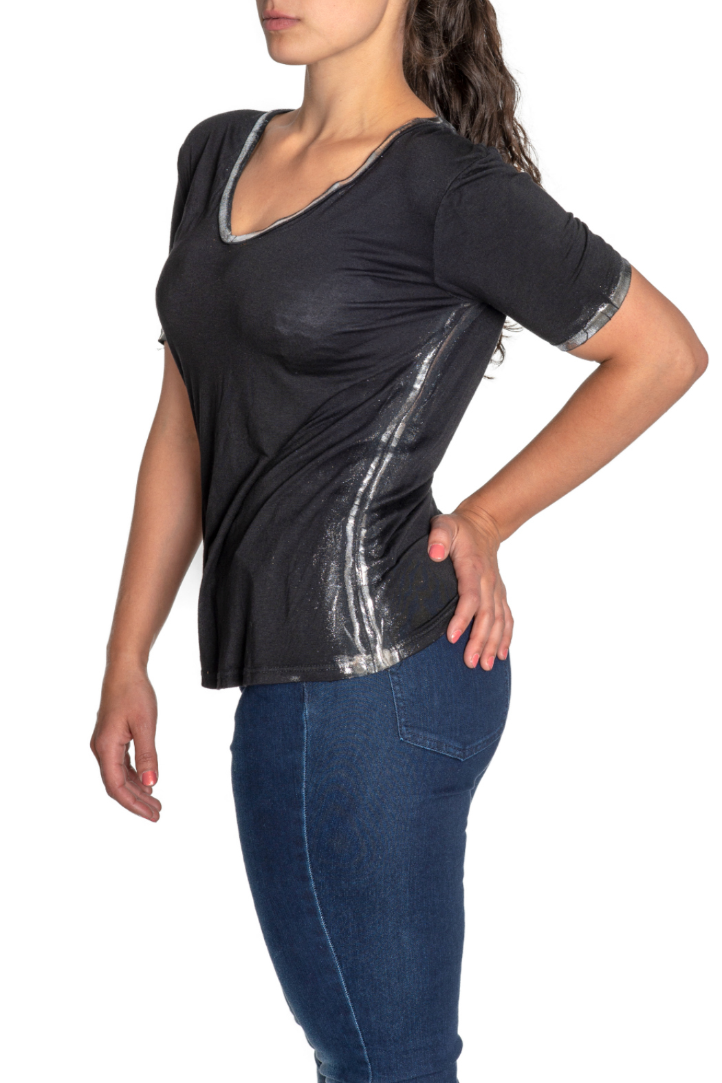 Brand Bazar S/S Top w Silver Edging - Front Full Image
