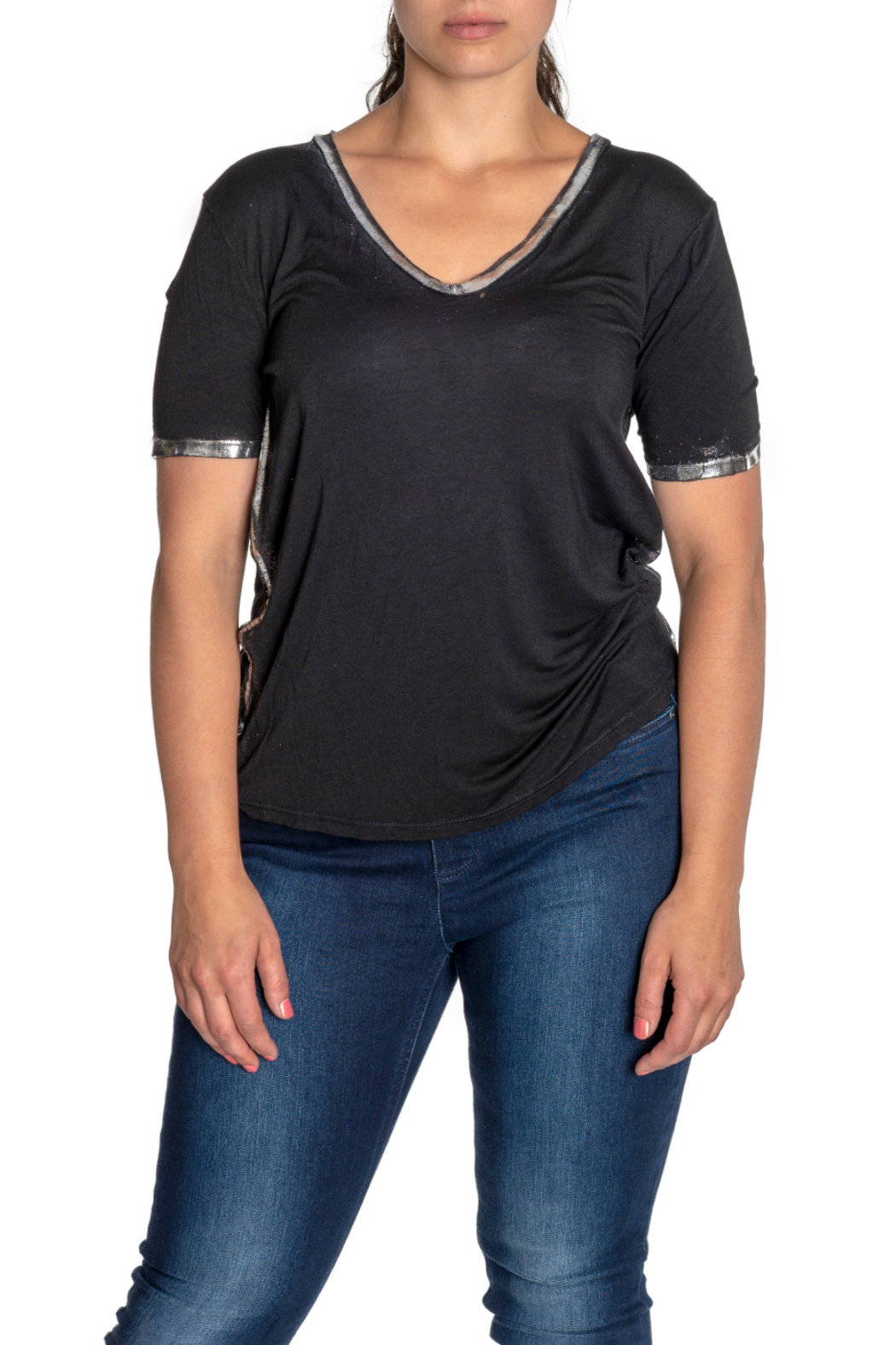 Brand Bazar S/S Top w Silver Edging - Main Image