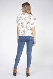 Dex S/Slv Tie Front Floral Top - Front full body