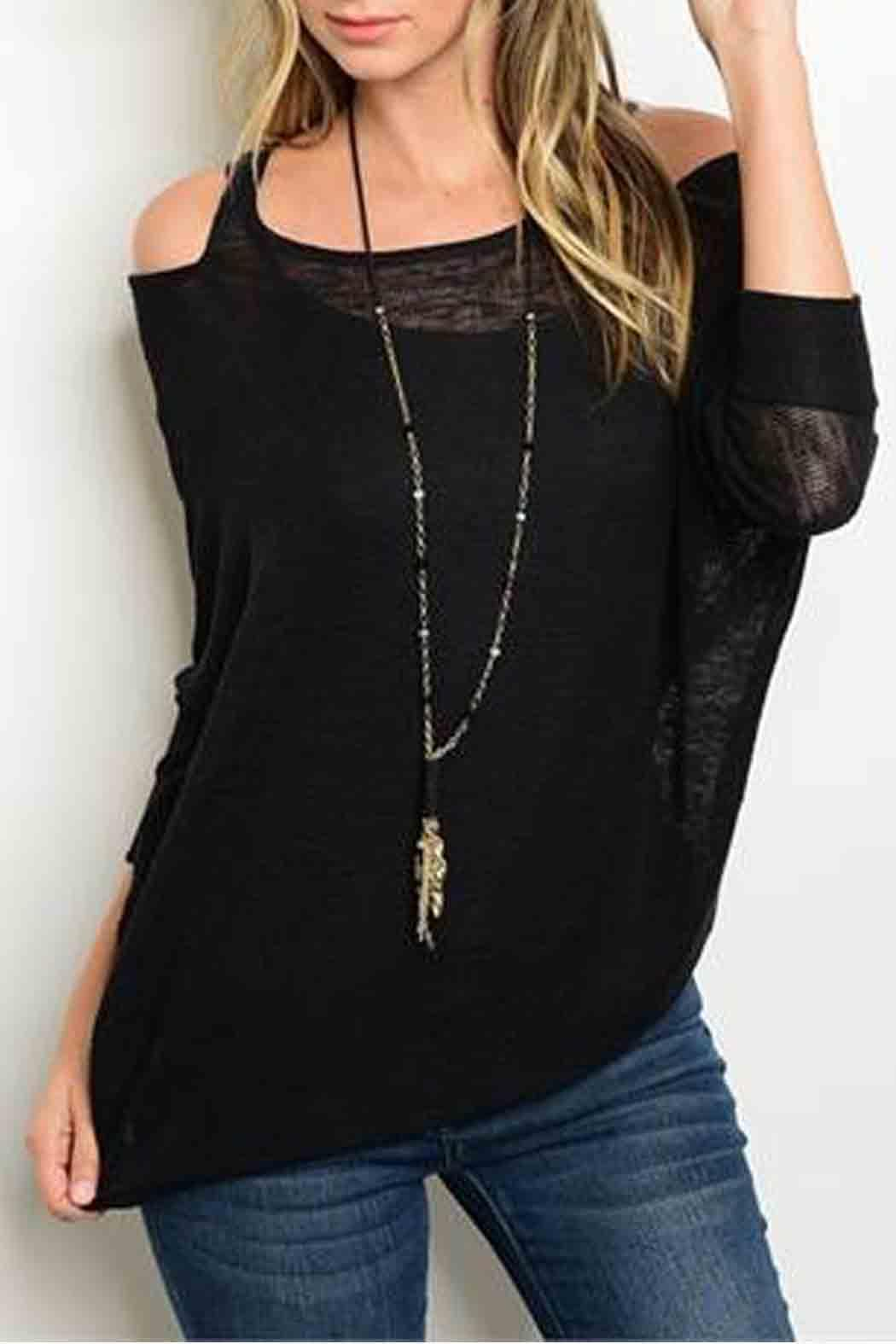 f896ac952f1b6 S-Twelve Black Cold Shoulder Sweater from California by Bus Shoppe ...