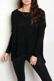 S-Twelve Black Oversized Sweater - Front cropped