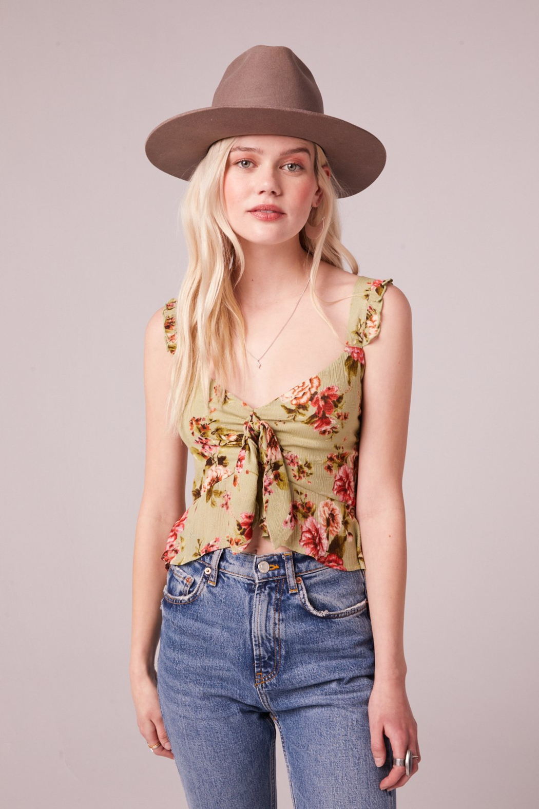 Band Of Gypsies SABADEL SAGE FLORAL TIE FRONT TANK TOP - Front Full Image