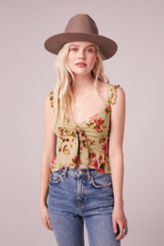 Band Of Gypsies SABADEL SAGE FLORAL TIE FRONT TANK TOP - Front full body