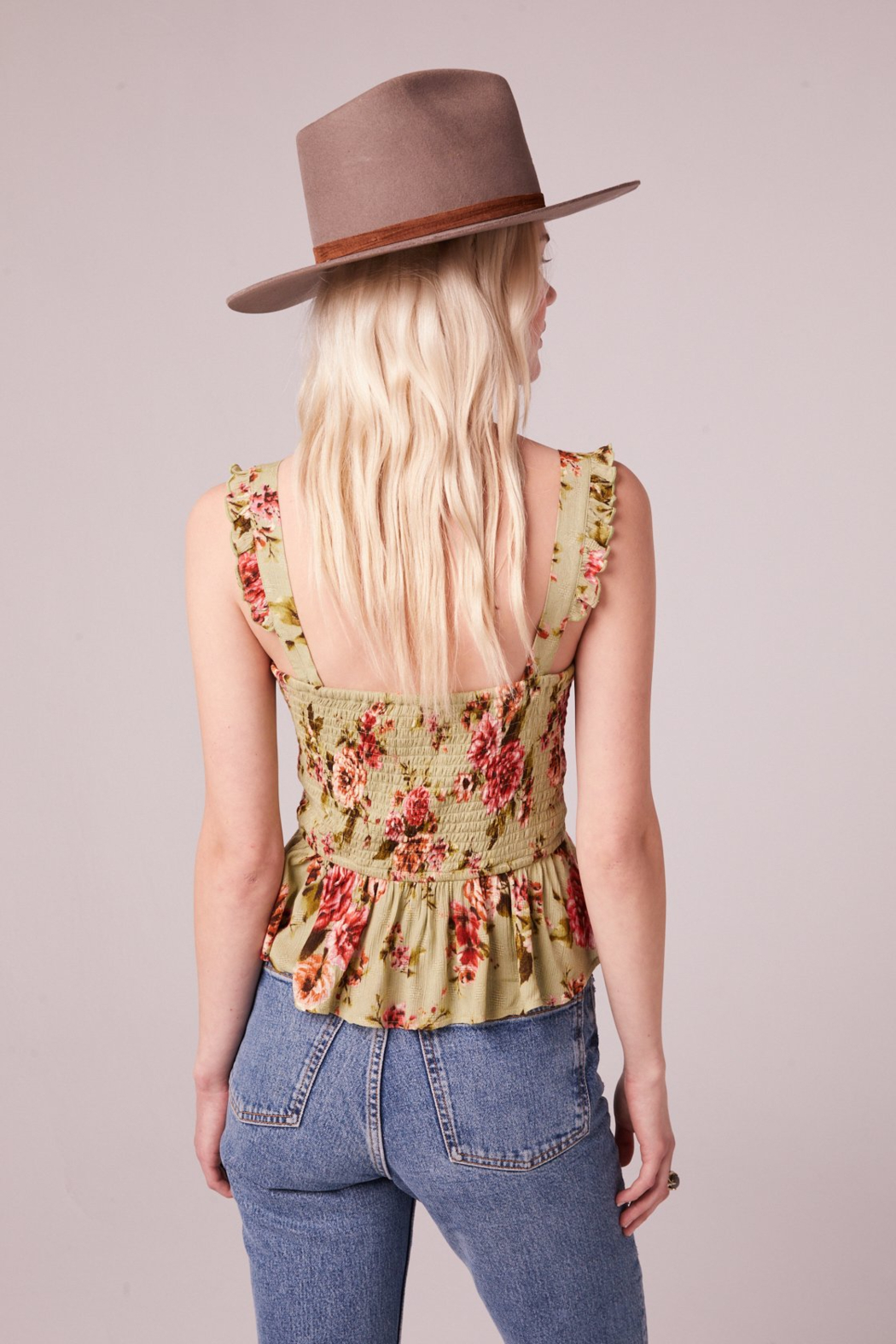 Band Of Gypsies SABADEL SAGE FLORAL TIE FRONT TANK TOP - Back Cropped Image