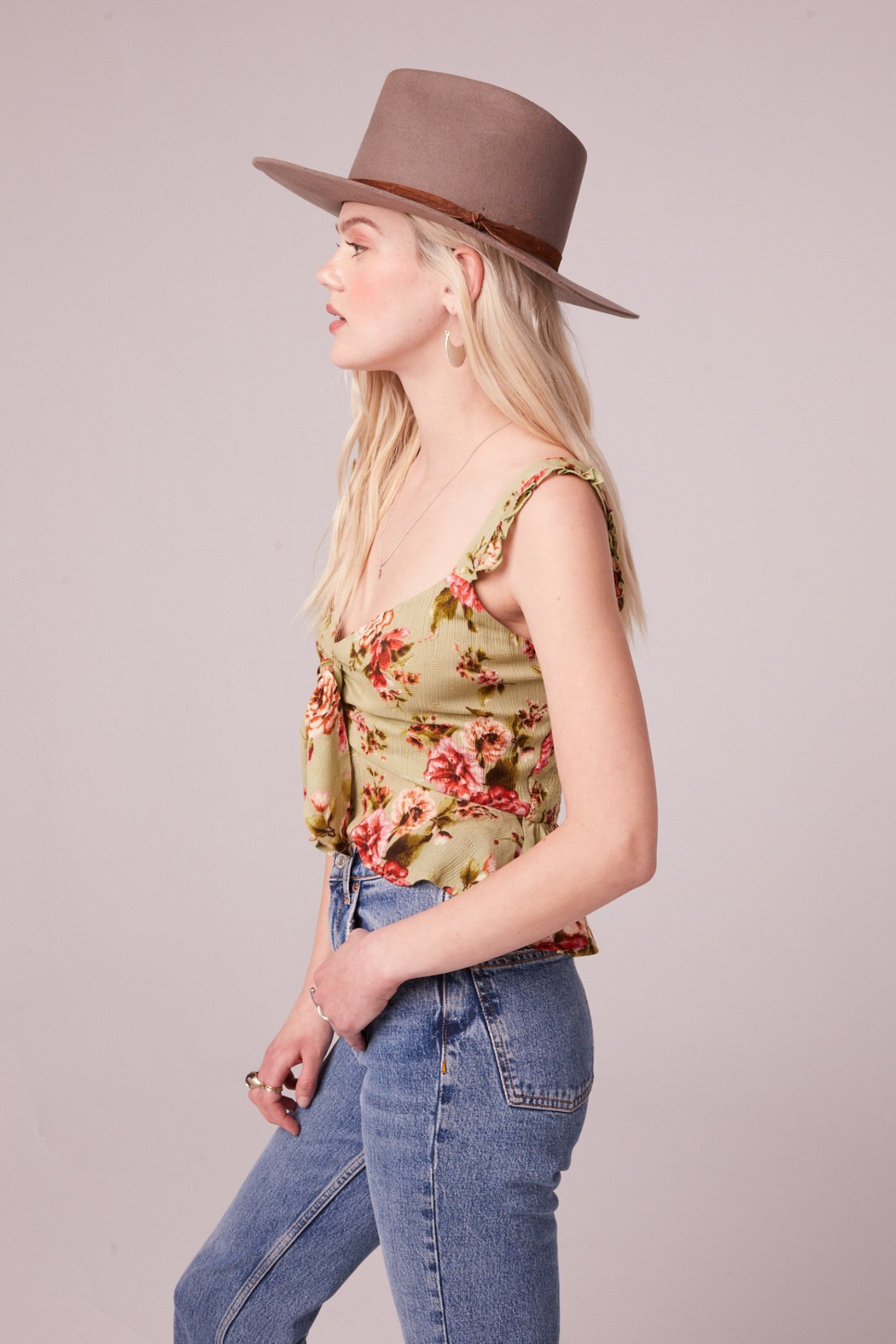Band Of Gypsies SABADEL SAGE FLORAL TIE FRONT TANK TOP - Side Cropped Image