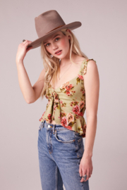 Band Of Gypsies SABADEL SAGE FLORAL TIE FRONT TANK TOP - Product Mini Image