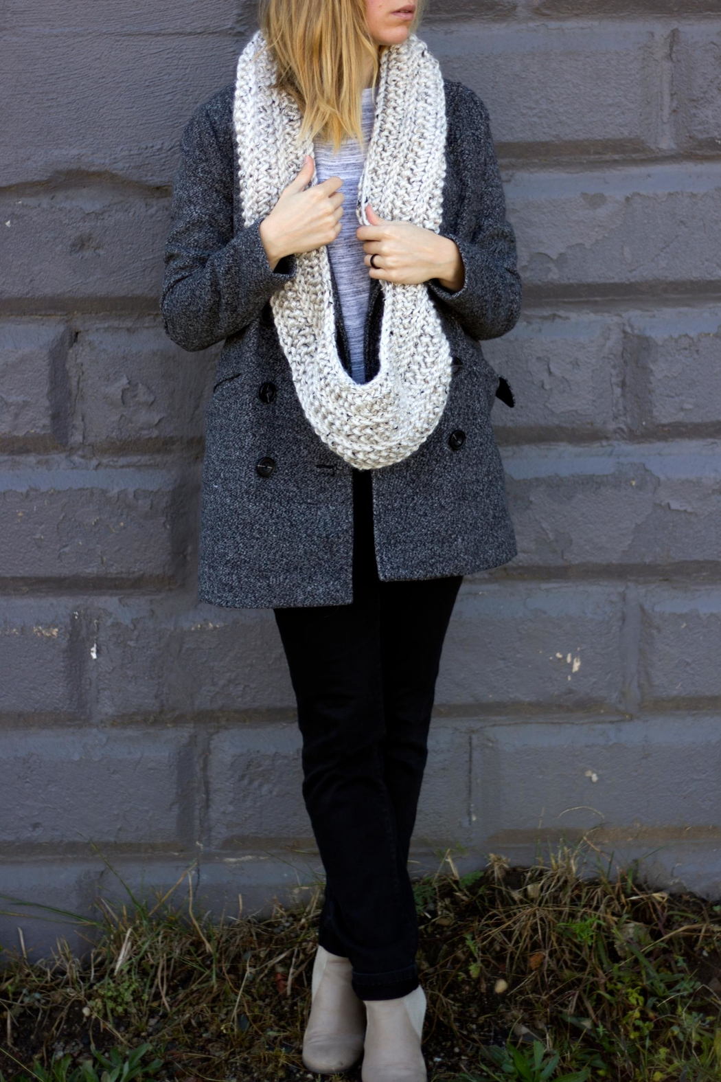 Sable + Company Beige Infinity Scarf - Front Full Image