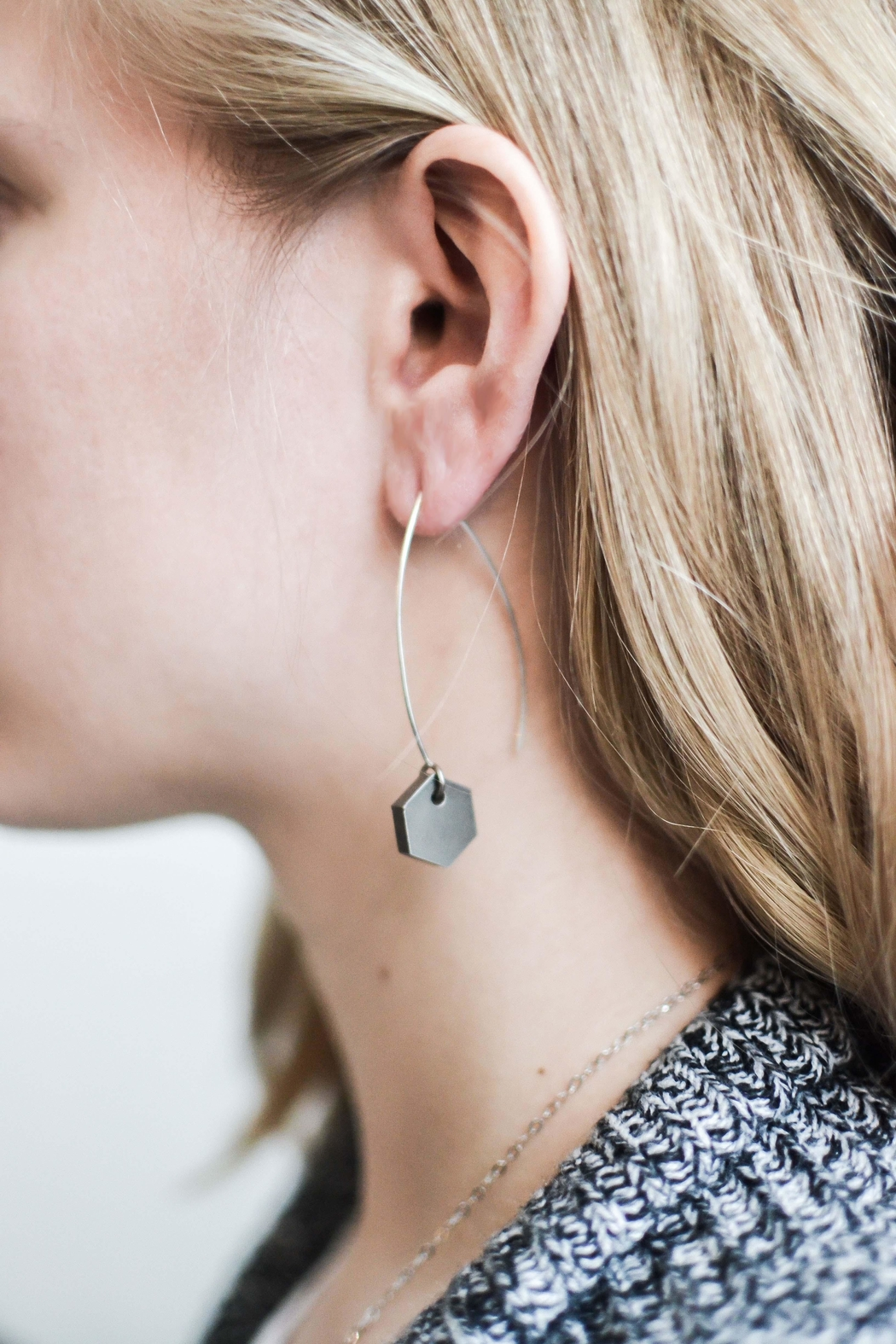 Sable + Company Small Hexagon Thread-Earrings - Main Image