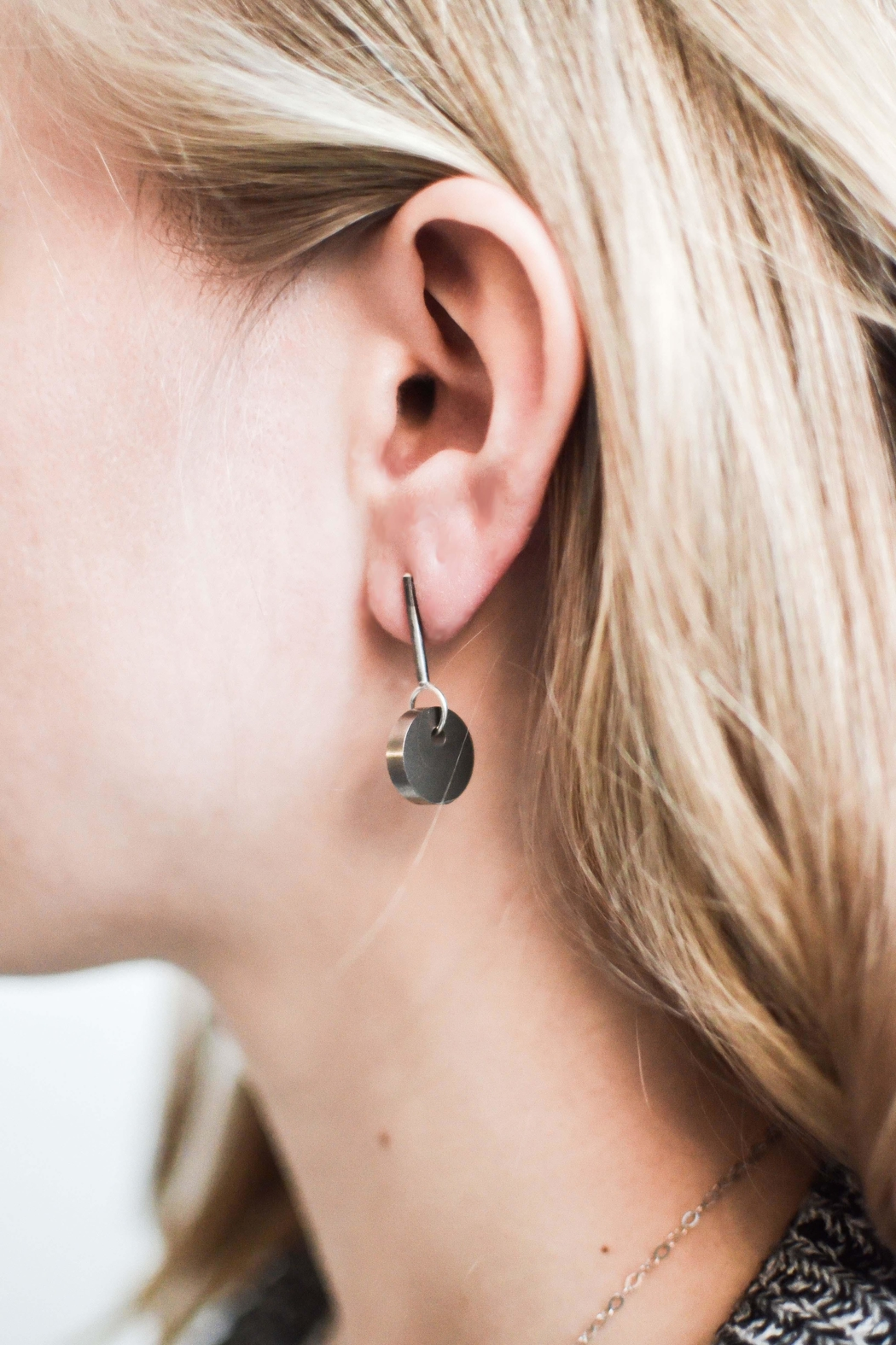 Sable + Company Solid-Circle Drop Earrings - Front Full Image