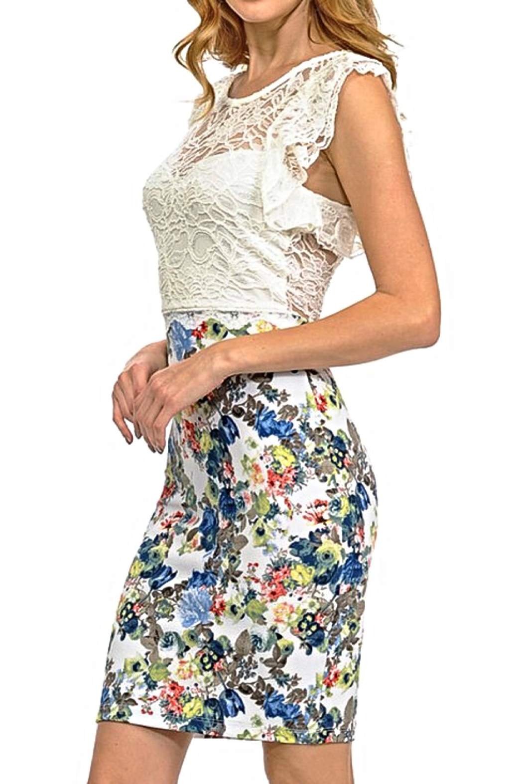 Sabora Lace Floral Midi - Front Full Image