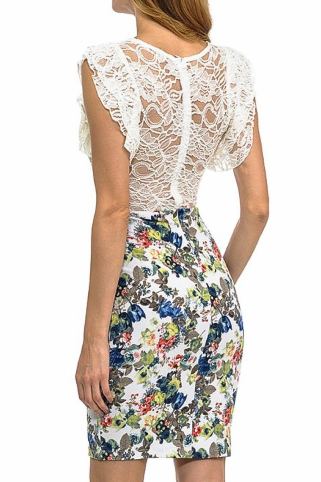 Sabora Lace Floral Midi - Side Cropped Image