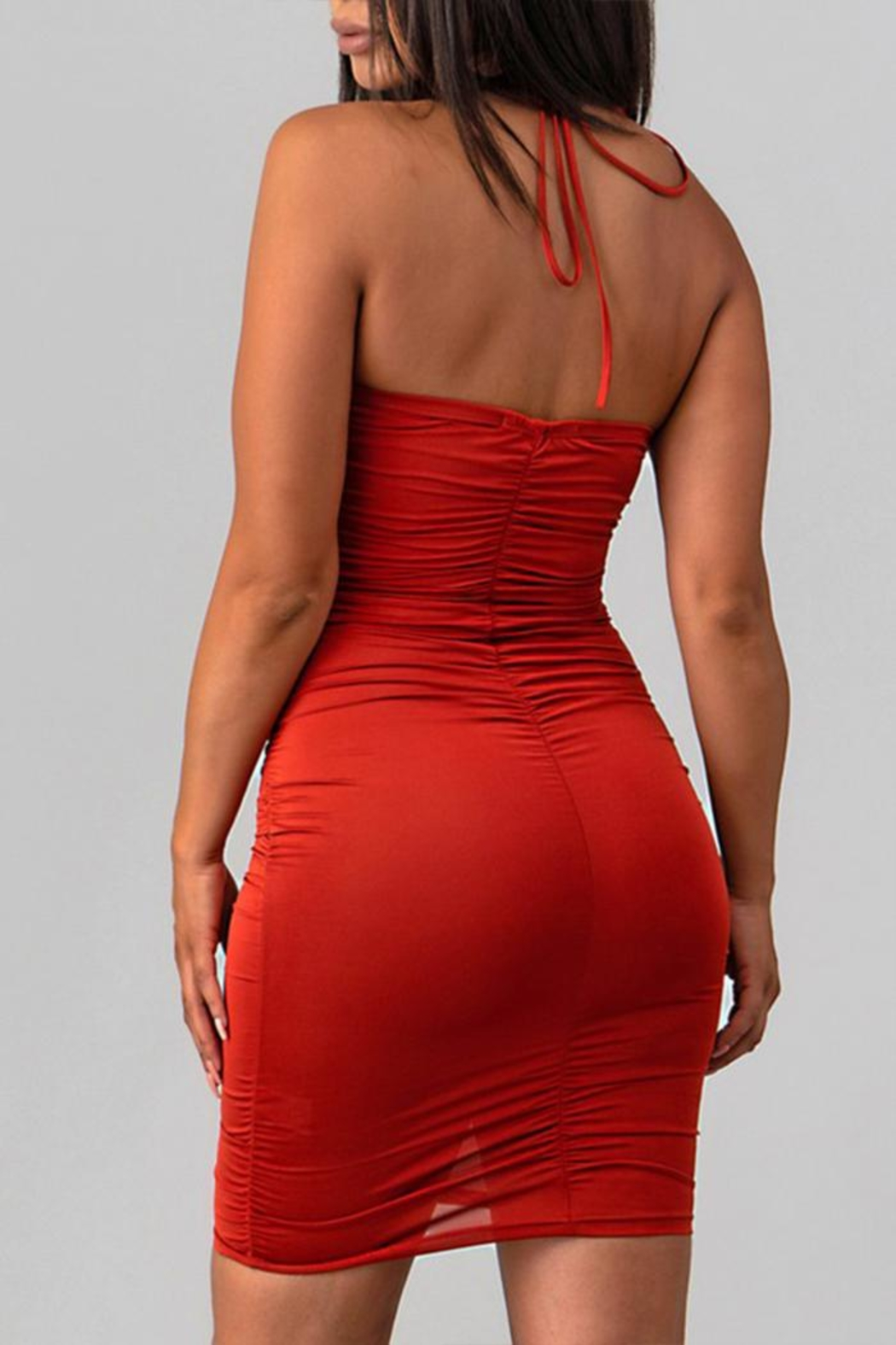 Sabora Rust Bodycon Dress - Side Cropped Image