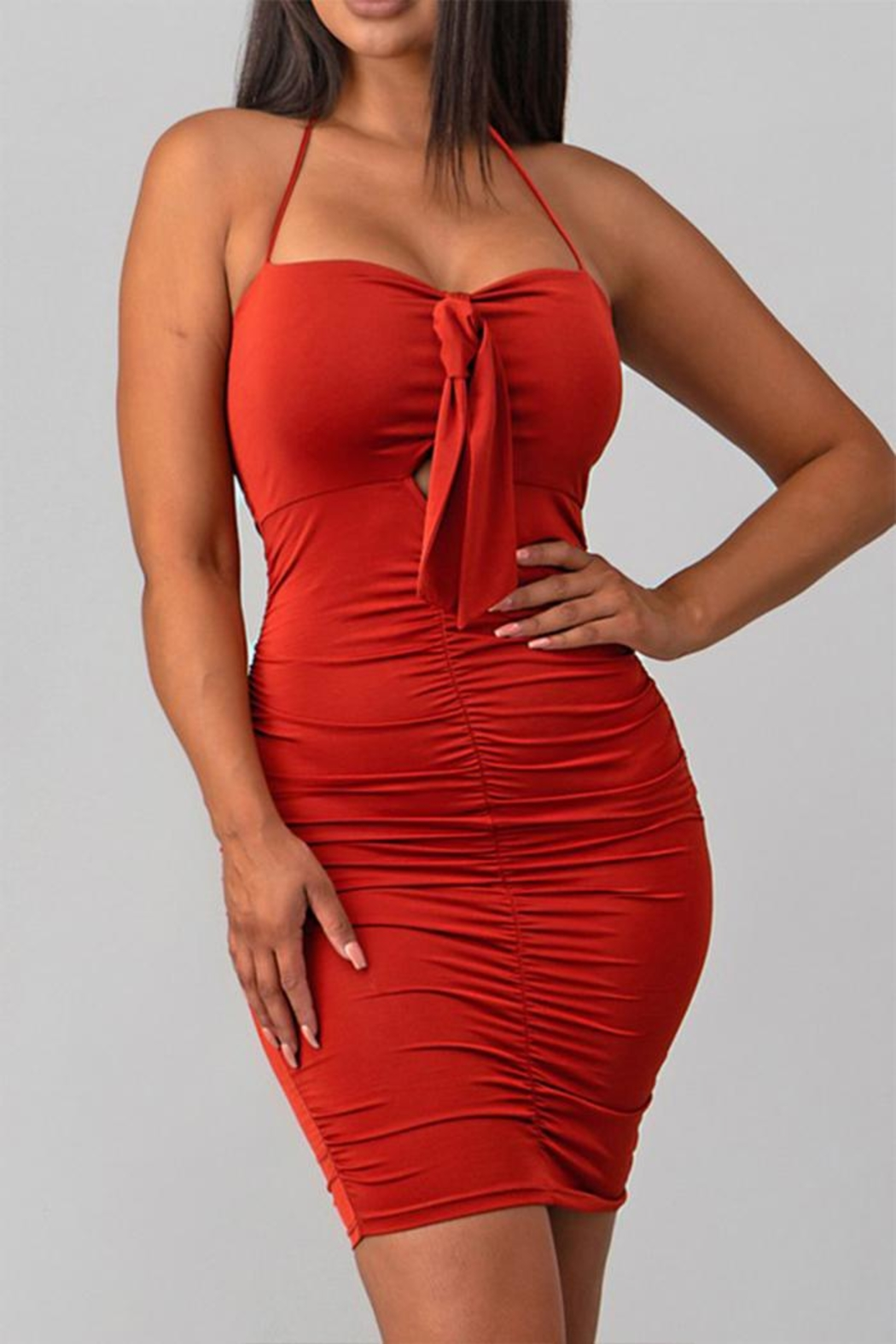 Sabora Rust Bodycon Dress - Front Cropped Image