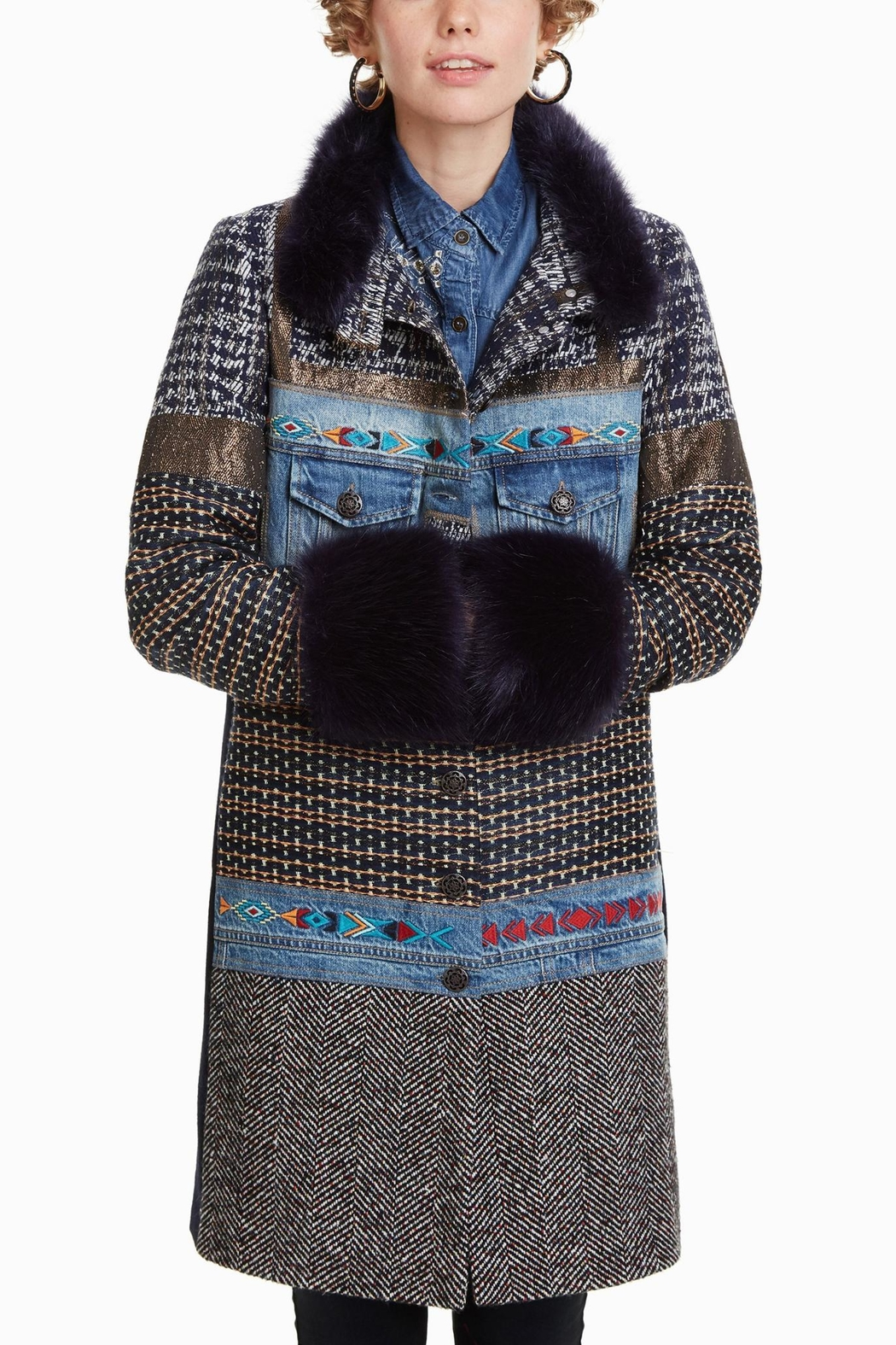 Desigual Sabrina Mixed Media Coat From Hudson Valley By Maria Luisa Swing Sleeves Front Cropped Image