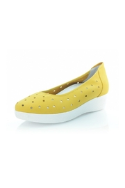 Sabrinas Yellow Nubuck Wedge - Front cropped