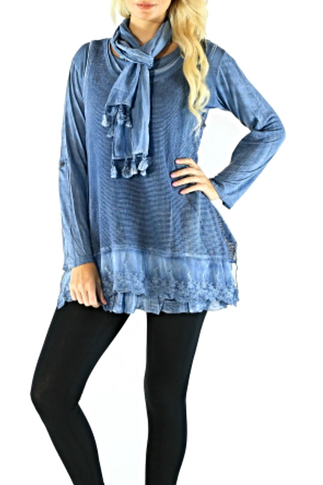 Sacred Threads  Bluesky Layered Tunic - Front Cropped Image