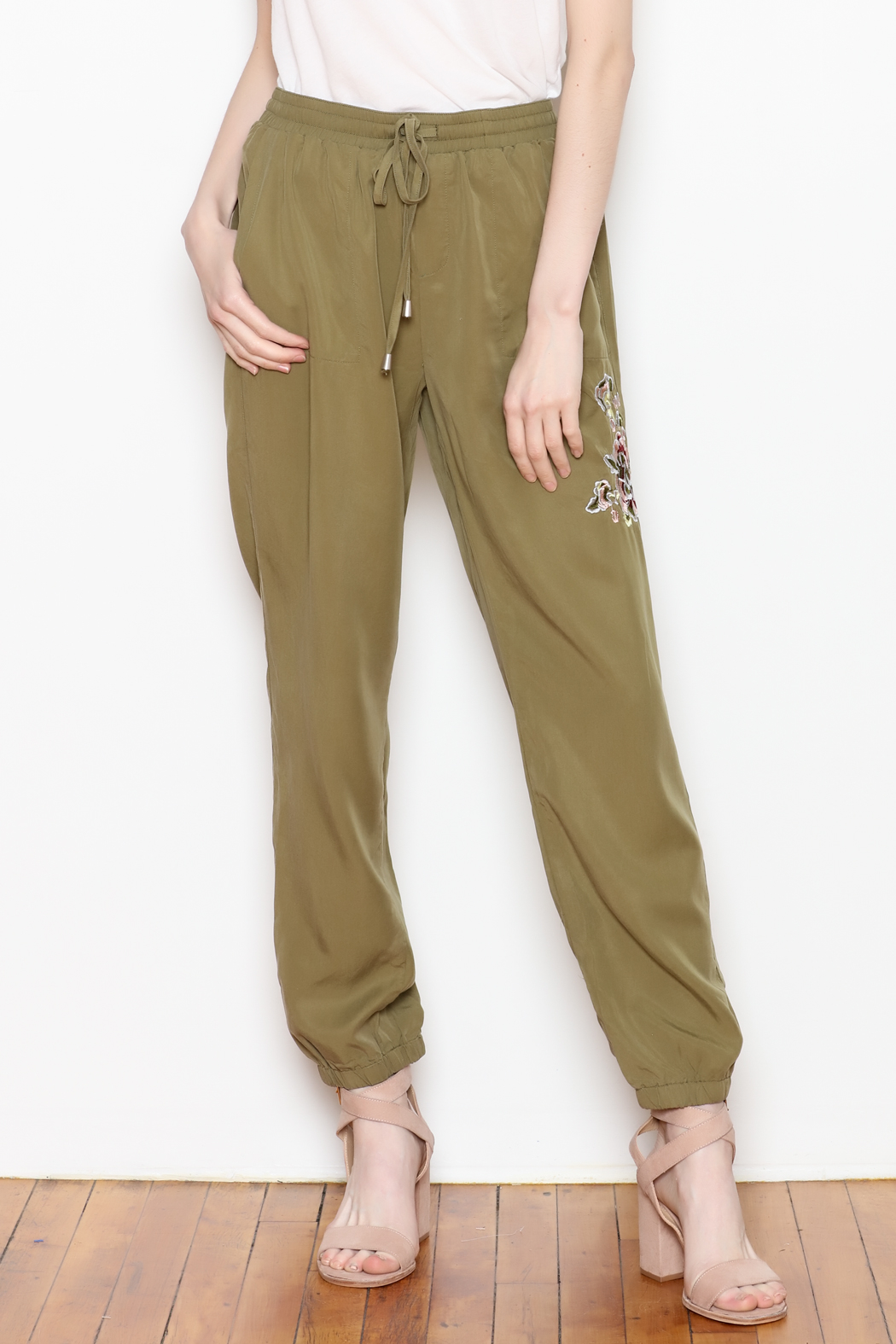 Sadie & Sage Rose Embroidered Joggers - Front Cropped Image