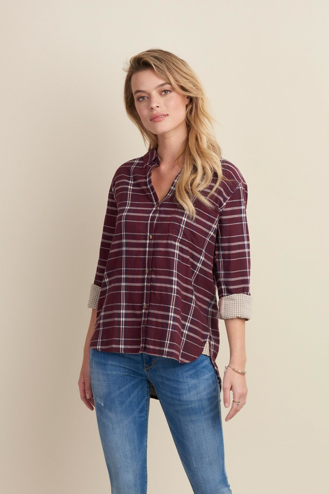 Hatley Sadie Burgundy-Plaid Blouse - Front Cropped Image