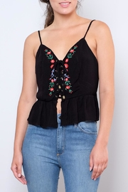 Sadie & Sage Embroidered Lace-Up Top - Product Mini Image