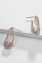 R+D  Safety Pin Crystal Earring - Product Mini Image