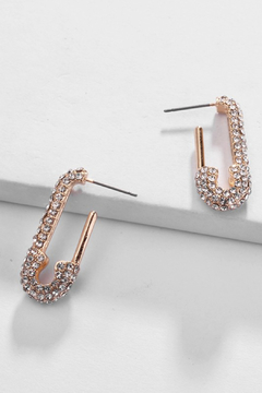 Shoptiques Product: Safety Pin Crystal Earring