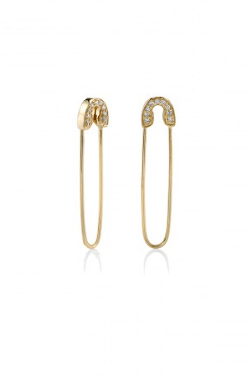 Sydney Evan Safety Pin Earrings Front Cropped Image