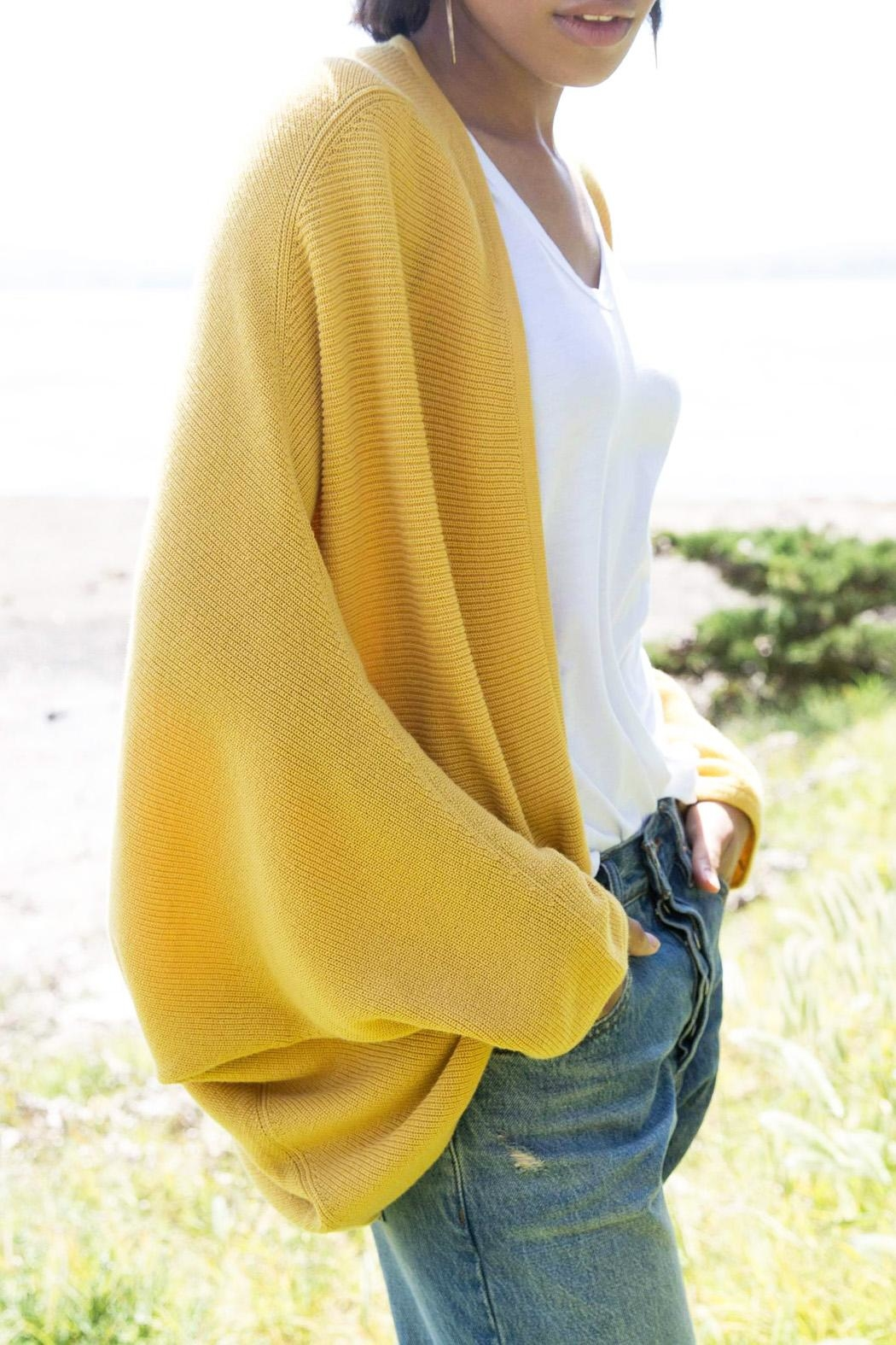 Indigenous Saffron Cocoon Sweater - Side Cropped Image