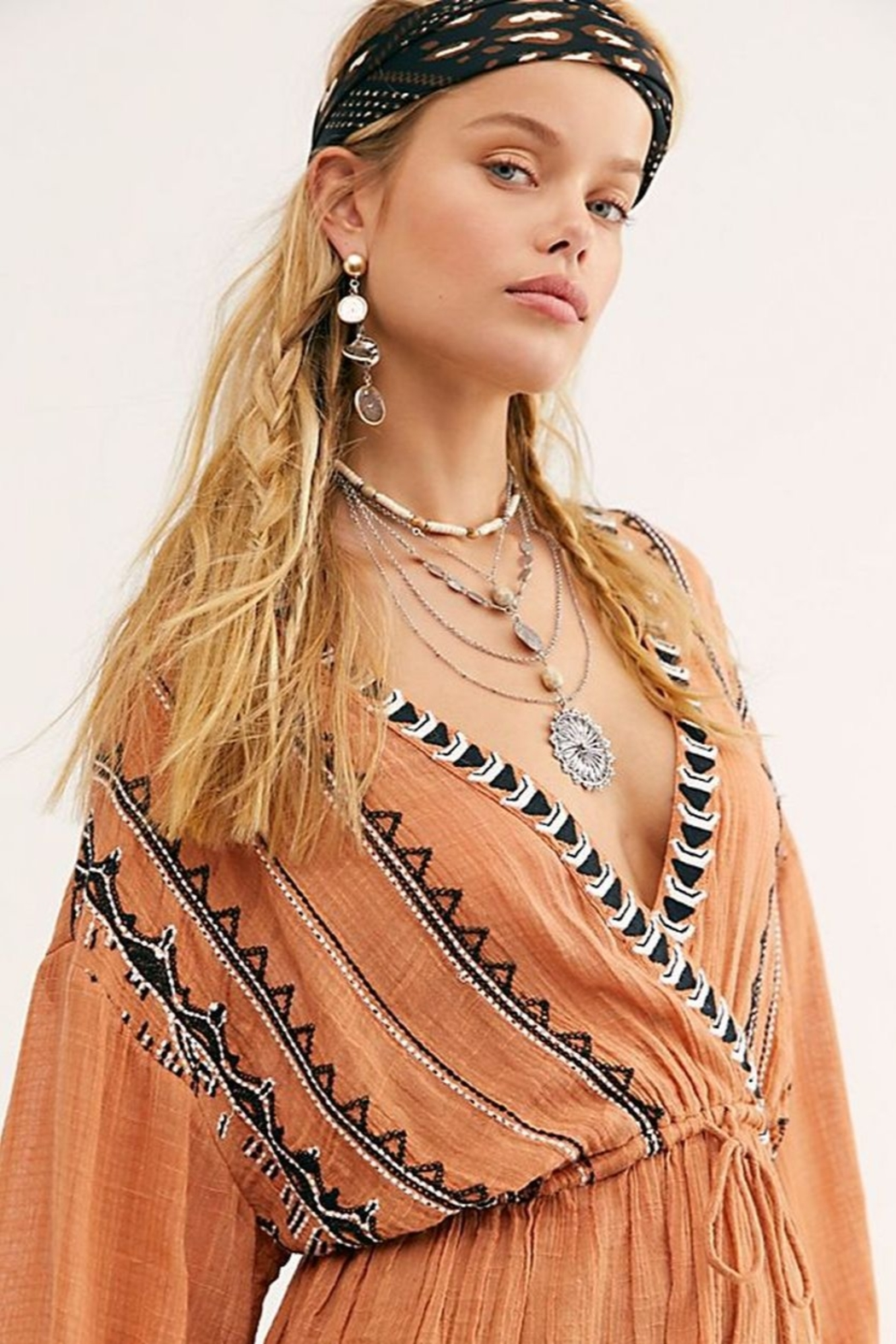 Free People Saffron Embroidered Tunic - Front Full Image
