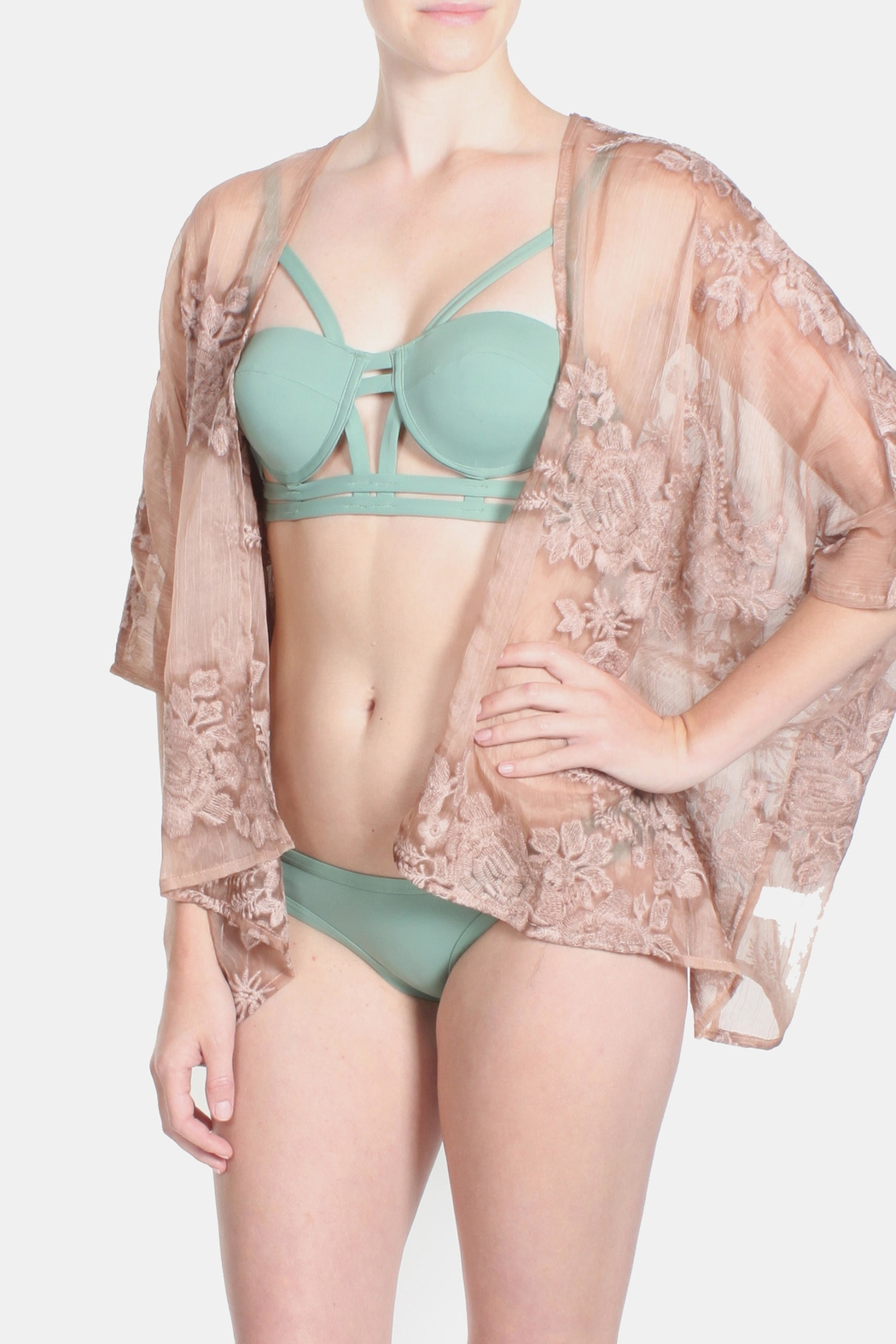 Sage Burn Out Lace Kimono - Front Full Image